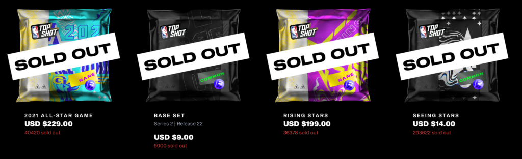 NBA Top Shot Sold Out Packs